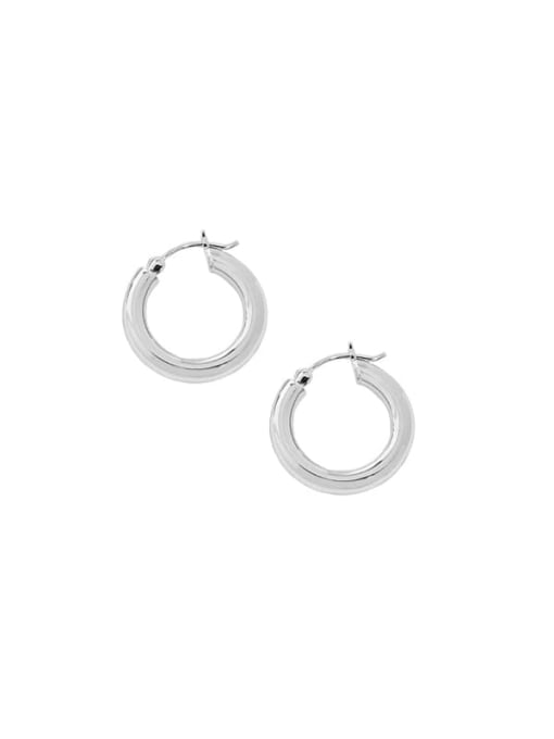 Silver [18mm] 925 Sterling Silver Geometric Vintage Huggie Earring